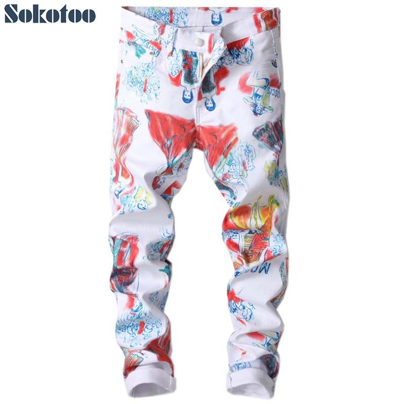 Sokotoo Men's Fashion Beauty Drawing Printed Jeans Slim Skinny Letters Painted Stretch Denim Pants