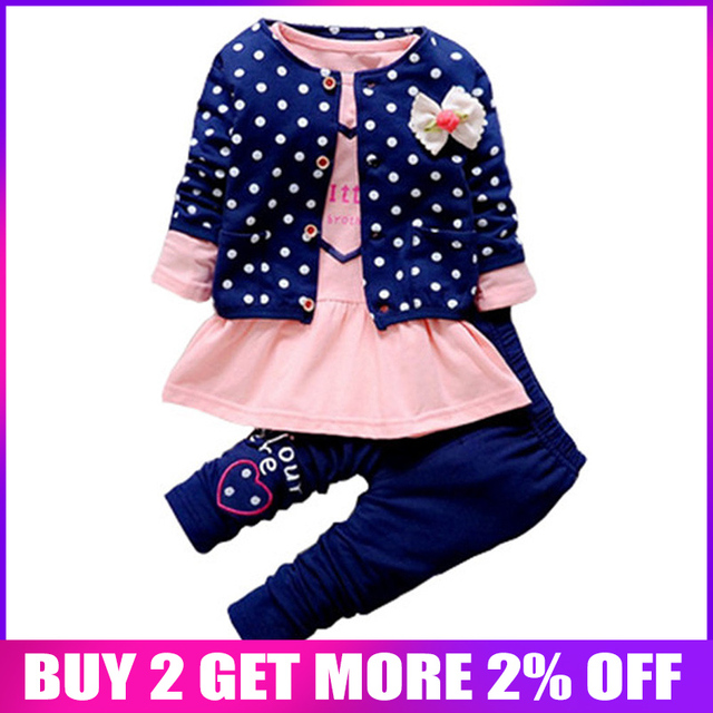 1032c0a1ec6fa BibiCola Baby Girl clothing Sets kids 3PCS coat+ T shirt + Pants children  Cute Princess Heart-shaped Print Bow baby girl outfits