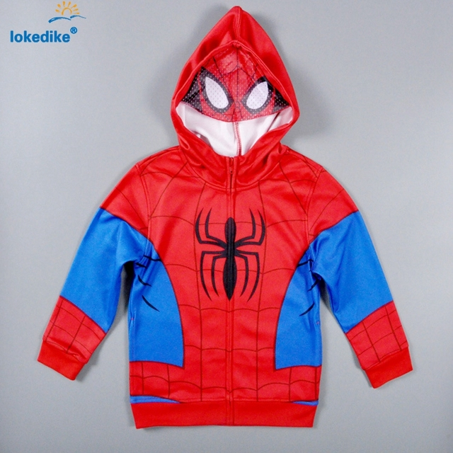 New Fashion Children Clothing autumn 2017 Cartoon Cool Boys Clothes Spider Man Hooded Cotton Coat Tracksuit Kids Clothes T1854