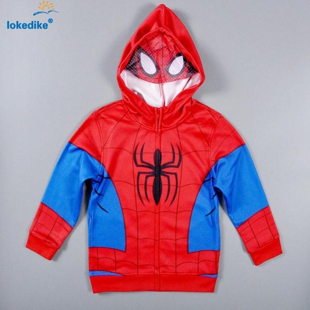 Nova moda crianças clothing outono 2017 meninos roupas do homem aranha dos desenhos animados fresco casaco de algodão com capuz agasalho crianças roupas t1854