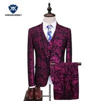 3 Piece Purple Suit for Men Wedding Tuxedo Groomsmen Slim Floral Suit Set Print Blazer homme 2017 Party Costume Stage Prom Wear