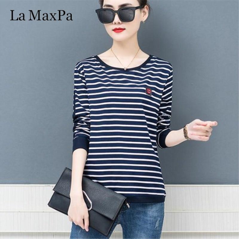 La MaxPa 2019 Spring New T-shirts For Women Classic Striped T Shirt O-neck Cotton Female 4XL Plus Size Tees 1