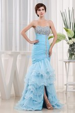 free shipping dresses new fashion 2013 cocktail designer gown brides maid maxi long blue Mermaid prom