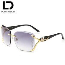 DOLCE VISION Ladies Elegant Sunglasses Women Fox Rhinestones Desgin Rimless Sun Glasses For Women Square Glasses Female Oculos