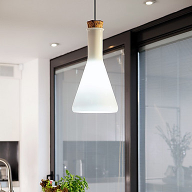 ФОТО 60W Contemporary Pendant Light with Glass Shade in Flask Design For dining room living room,E26/E27,Bulb Included