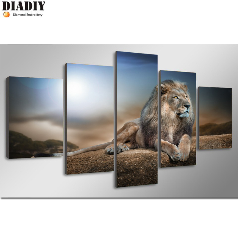 DIADIY  5d diy diamond embroidery 5pc animal loin diamond painting Cross Stitch full round  drill Rhinestone mosaic decorDIADIY  5d diy diamond embroidery 5pc animal loin diamond painting Cross Stitch full round  drill Rhinestone mosaic decor