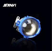 Wholesale free shipping for sanvi blue color bi led projector lens light super bright car auto light accessories for all car