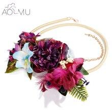 AOMU Women Bobo Big Flower Belt Party Sash Belt Waist Chain Bride Headband Accessories Wedding Necklace Jewelry