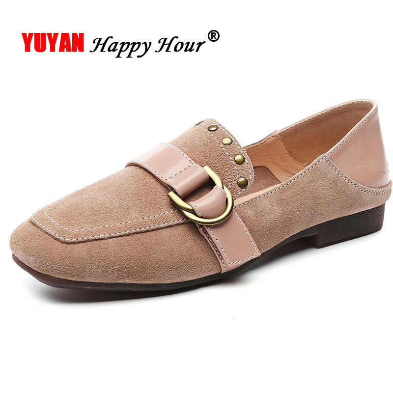Genuine   Leather   Loafers Women Flats   Suede     Leather   Women Shoes Soft Comfortable Brand Ladies Shoes TB002