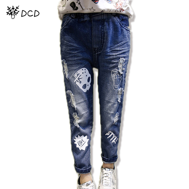 480c22ed7 2017 Fashion Spring Autumn boys girls jeans boy cartoon printed skull jeans  pants kids ripped jeans