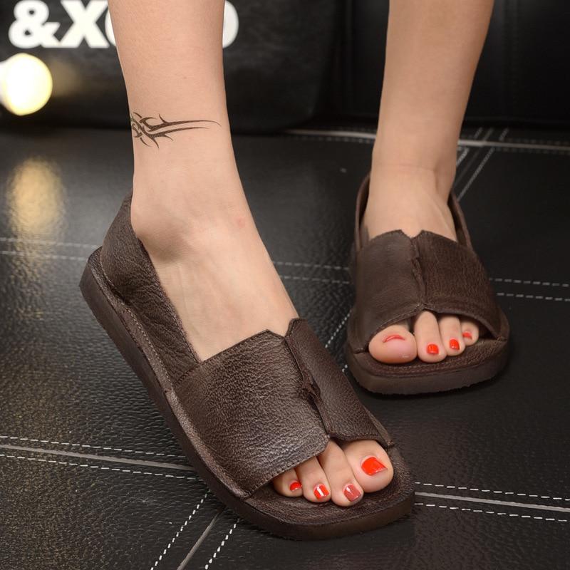 2018 Women Sandals Summer Shoes New Soft Bottom Genuine Leather Sandals woman Platform Flat Heel Sandals