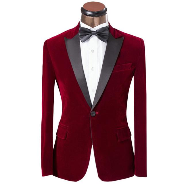 Botão vermelho de veludo do noivo smoking padrinhos homens ternos de casamento de baile Custom Made ( Jacket + Pants + cinto + Tie ) K 231