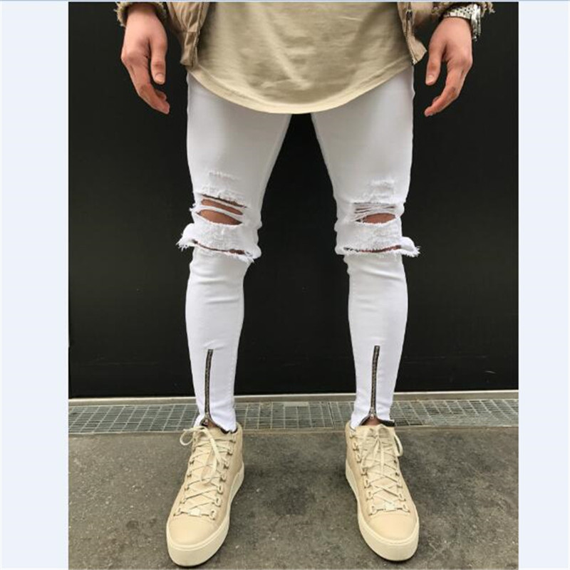 font b Men b font pant with knee zipper ripped hole distressed skinny white denim