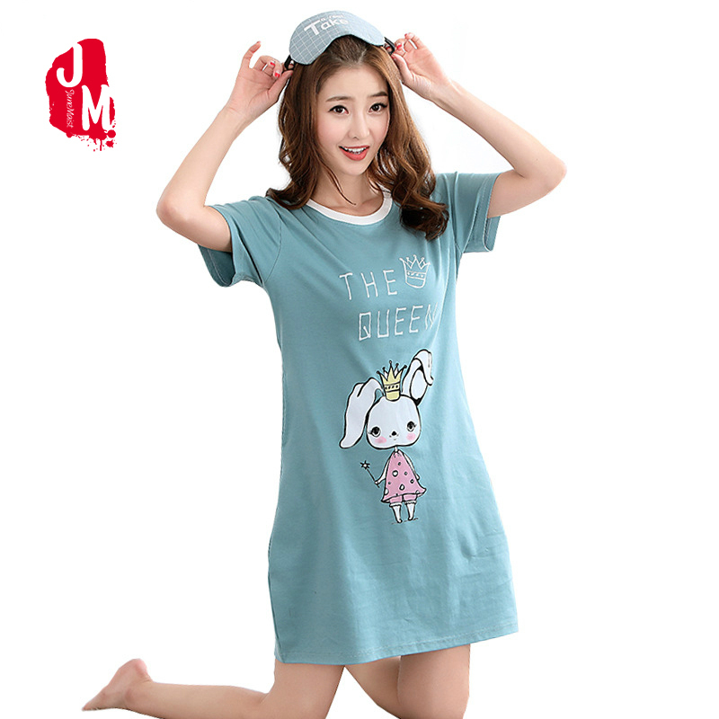 Sleep Dress Women Cotton   Nightgown   Short Sleeve Summer Nightdress Lingerie Cute Rabbit Casual Lounge Sleepwear   Sleepshirts   XXXL