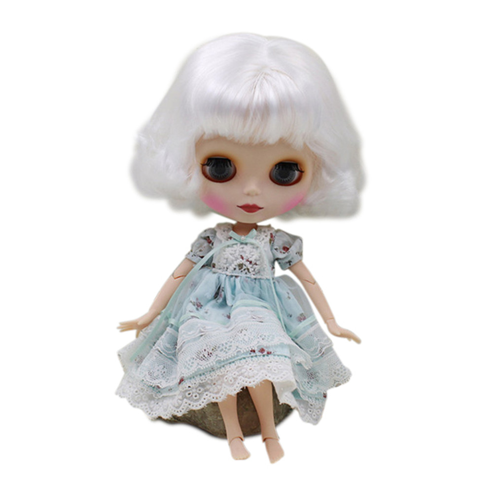 blyth joint doll factory 130BL136 white bob hair with bangs for girl present DIYspecial offer matte