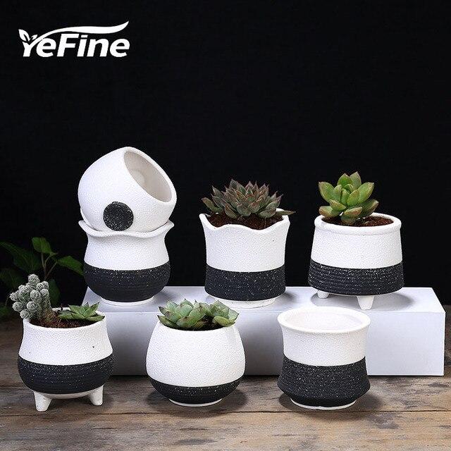 YeFine Mini Korean Style Ceramic Succulents Pots Creative Planter Flower  Pot Home Garden Decoration Indoor Modern