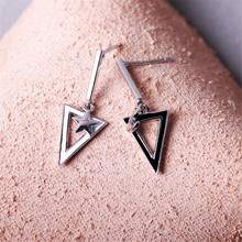 Moon Star Inverted Triangle AB Style Stud Earring Cool Girl Earrings Silver 925 Jewelry Sterling Needle
