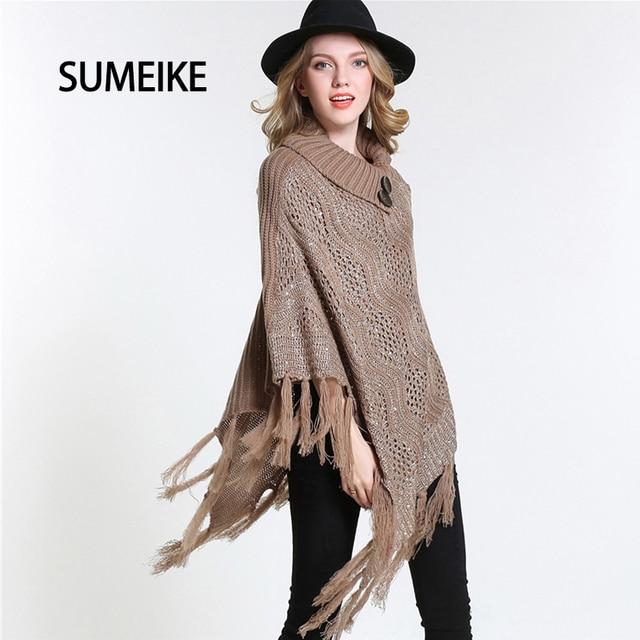Newest 2017 Hot Hollow Out Design Knitting Poncho Winter Fashion Warm Women Cape Female Lady Scarf Shawl SMKP008