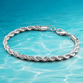 Korea jewelry 5MM sterling silver bracelet  personality neutral fashion for men and women.Twist bracelet tide people like