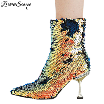 BuonoScarpe Glitter Bling Bling Women Ankle Boots Kitten Pearl Heel Sequined Cloth Short Boots Sexy Night Club Girls Shoes Heels