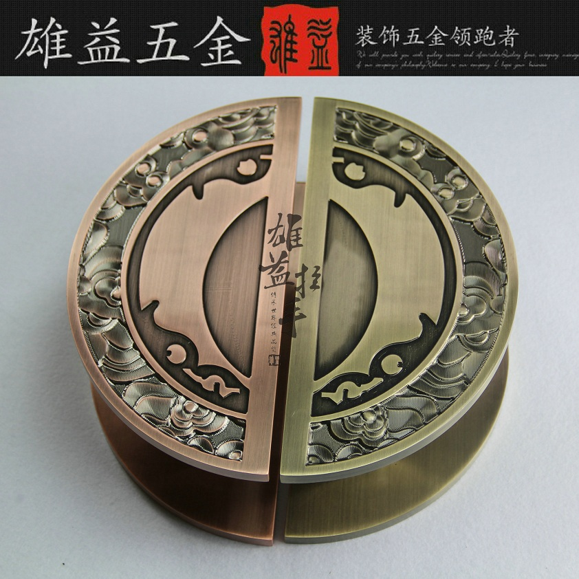 Modern Chinese antique bronze door handle wooden door handle semicircular glass door carving Handle bronze glass door handle modern european luxury stainless steel door handle chinese antique wooden door handles