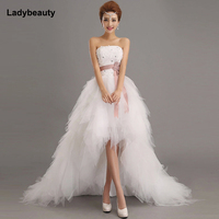 2015 New Stock Sweetheart High Low Crytals Beaded Ruffles Sheath Organza Short Wedding Dresses Bridal Gowns