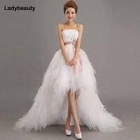 2015 New Stock Sweetheart High Low Crytals Beaded Ruffles Sheath Organza Short Wedding Dresses Bridal Gowns