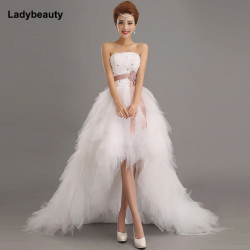 Ladybeauty 2018 Low price the bride royal princess wedding dress short train formal dress short design wedding growns 1