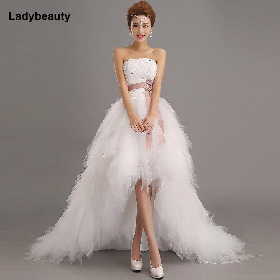 Ladybeauty Low Price The Bride Royal Princess Wedding Dress Short Train Formal Dress Short Front Design Back Long Gowns