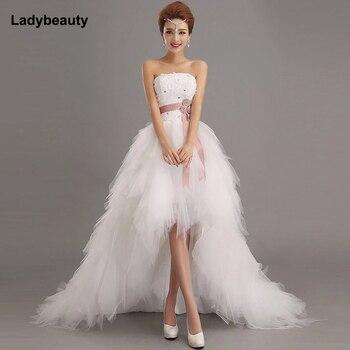 Ladybeauty Low Price the Bride Royal Princess Wedding Dress Short Train Formal Dress Short Front Design Back Long Gowns цена 2017