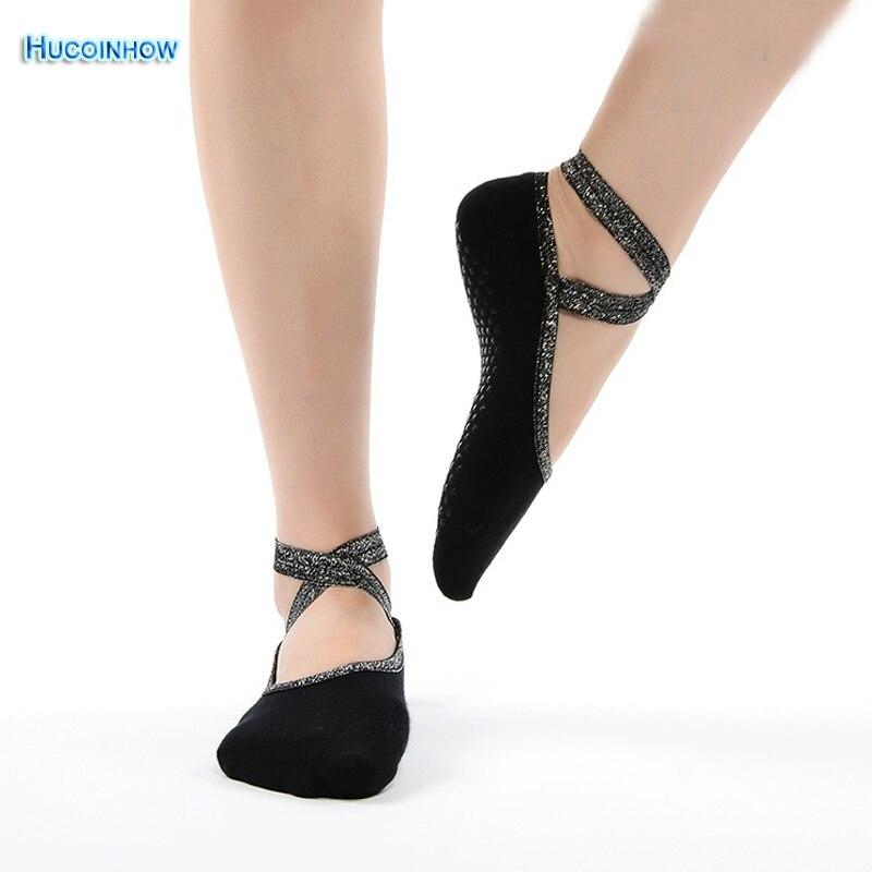 HUCOINHOW Brandly 1Pair Women Silver Ribbon Yoga Socks Fitness Pilates Anti-slip Dancing Sport Socks Gym Exercise Ballet Socks yoga socks half toe grip socks for workout fitness