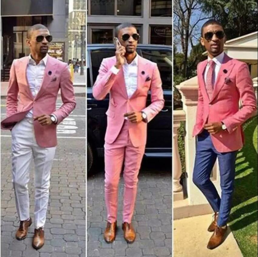 Wedding Tuxedos Pink One Button Groom Suits Mens Groomsmen Slim Fit Best Man Prom Celebrity Wedding Suit (Jacket +Pant) ...