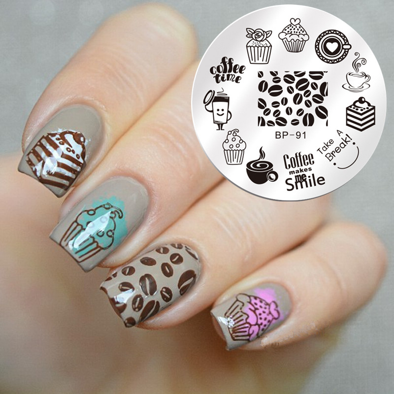 1 Pc BORN GRAZIOSO Round 5.5cm Nail Art Timbro Template Dessert Coffee Time Design Immagine sveglia Nail Stamping Plate BP-91