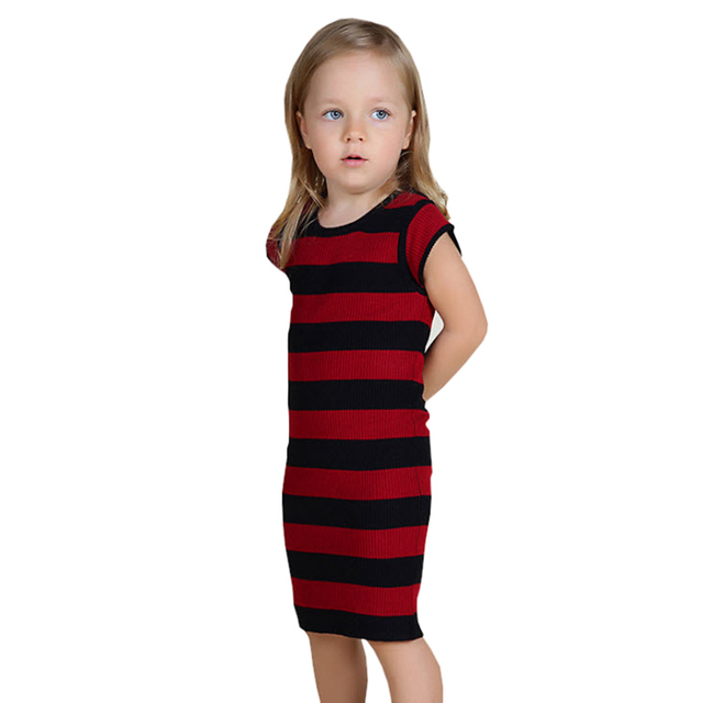 Baby Girls Knitted Dress 2017 New Summer Dresses Cotton Black Red