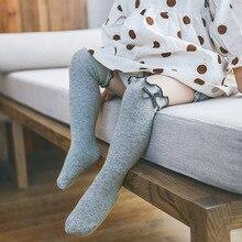33cm one size baby girls socks 1-6Y elasticity mesh socks with bow over knee high long socks princess infant socks lace cotton цена 2017