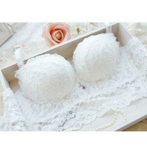 Image 5 - 5 completo breasted empurrar para cima conjuntos de sutiã de renda calcinha transparente sexy moda feminina ajustável Intimates meninas conjunto de sutiã de algodão