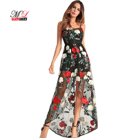 Maylina Embroidery Boho Mesh Long Mermaid Dresses Women Retro Flower Hollow Out Party Sexy Dress Summer