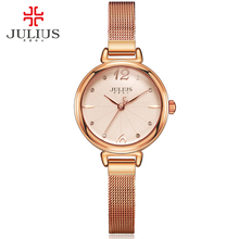 JULIUS Brand Ladies Rose Gold Watch Round Dial Full Steel Mesh Band Japan Quartz