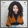 Новый Африканских Amerian Афро Вьющиеся Черные Парики Кукла Дреды для 18 ''высота Американская девушка кукла с 26 см глава