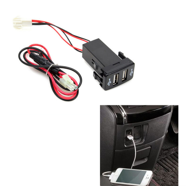 New Charger Adapter Twin Dual Double 2 Usb Port 12v In Car Socket For Toyota Yaris Sequoia Highlander Tacoma 4runner Rav4