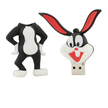 Wholesale Cartoon Rabbit Bugs Bunny USB Flash Drives Thumb Pen Drives Memory Stick Disk Gift 4GB 8GB 16GB 32GB Free Shippping