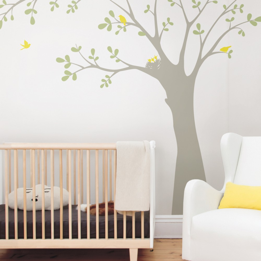 Birds And Big Tree Wall Stickers Decor Baby Kids Room Wall Decals  Customized Colors Perfect Quality Wallpaper 3d Poster A417C
