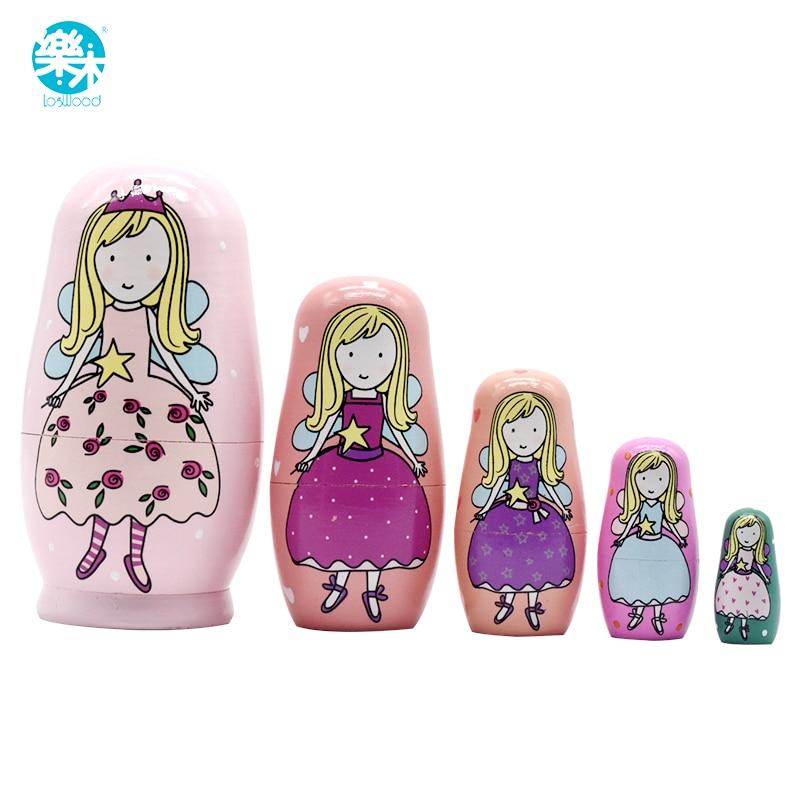5PCS Wooden Matryoshka Doll Princess Home Wooden Russian Nesting Dolls Gift Matreshka Handmade Crafts for Girls Christmas Gifts кашпо gift n home сирень