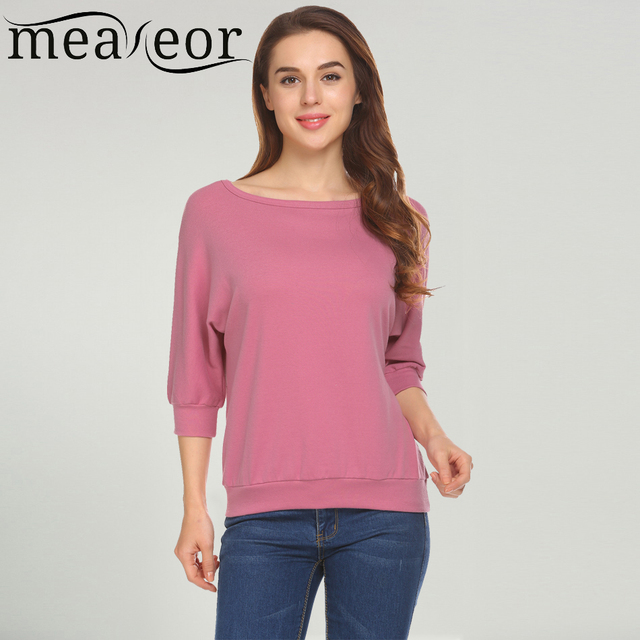 ca5307da84e Meaneor Women Casual O-Neck Batwing Sleeve Loose T Shirt Regular Fit Solid  2018 Spring New Sexy Elegant Female Tees T-shirt Tops
