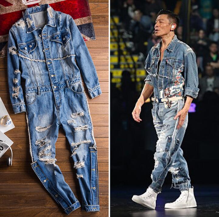 Nuevo Europeo Y Americano Retro De Moda Denim Hombre Hip Hop Agujero Tendencia Casual Male Hole Jacket Suit Men's Denim Overalls