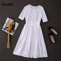 Hollow Out Embroidery Dress 2019 New Fashion Party Vestidos Women Half Sleeve Mid Calf Length Kate Middleton Elegant Dress Femme