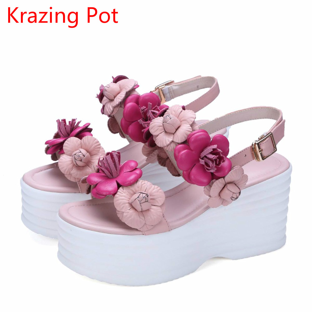 2018 fashion brand peep toe ankle straps flower platform women sandals brand shoes mixed color high heels gorgeous causal shoes
