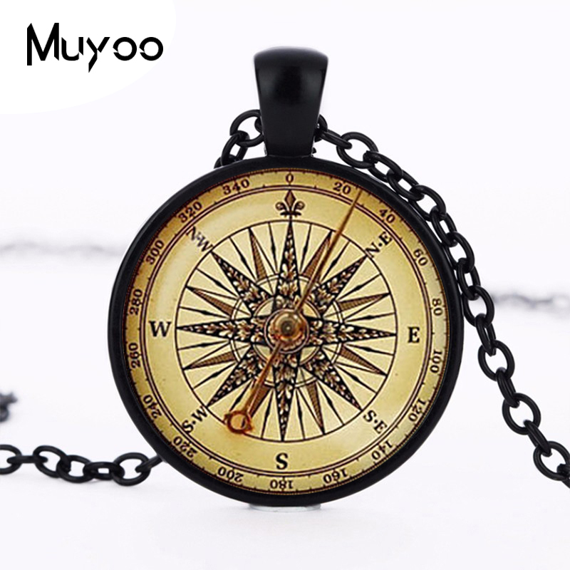 2017 new Old compass Pendant Vintage compass jewelry Colar Nautical gifts for travel lover long compass necklace wholesale HZ1