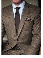 Темно коричневый твид Блейзер Для мужчин Шерсть елочка британский стиль изготовление под заказ Для мужчин s костюм slim fit пиджак свадебные ко