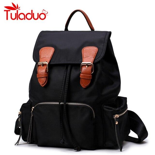 c6030f5744 New Student College Waterproof Nylon Famous Luxury Brand Backpack Women  Black Rucksack for School Back Girls